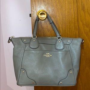 Coach elephant grey leather satchel handbag purse